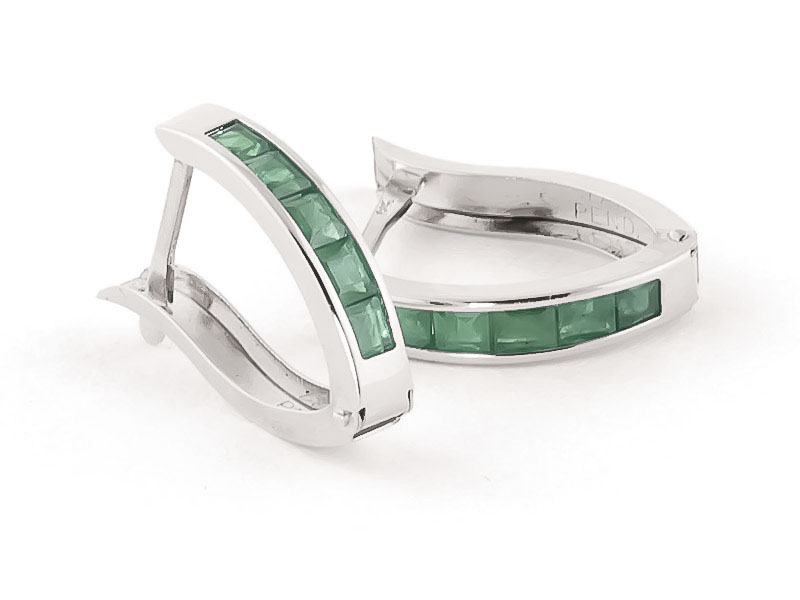 Emerald Acute Huggie Earrings 0.8ctw in 9ct White Gold