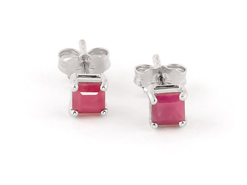 Ruby Alexandra Stud Earrings 0.8ctw in 9ct White Gold