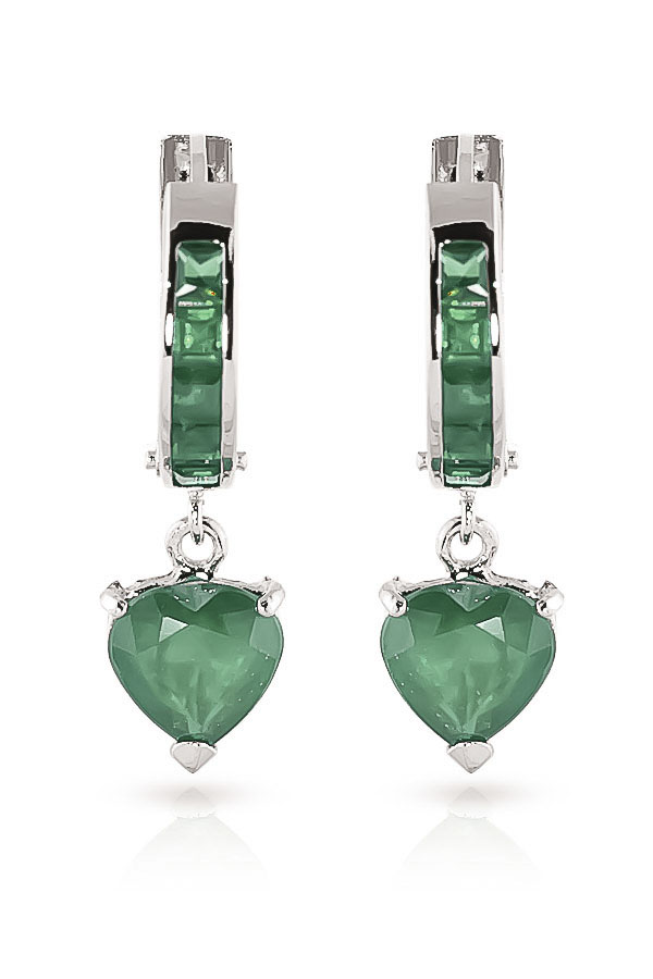 Emerald Huggie Earrings 0.85ctw in 9ct White Gold