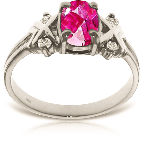 Pink Topaz and Diamond Ring 0.85ct in 14K White Gold