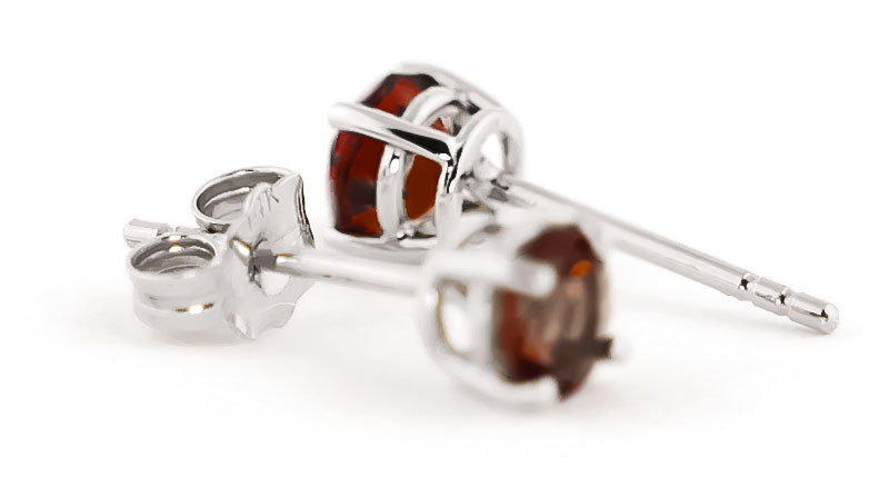 Garnet Stud Earrings 0.95ctw in 14K White Gold