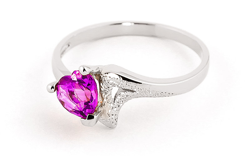 Pink Topaz Devotion Heart Ring 0.95ct in 9ct White Gold