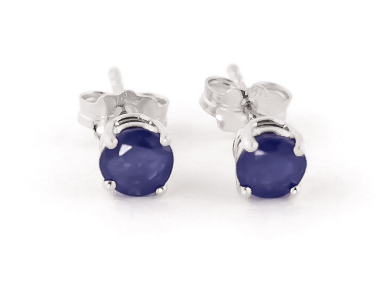 Sapphire Stud Earrings 0.95ctw in 14K White Gold
