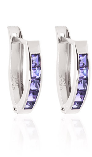 Tanzanite Acute Huggie Earrings 0.95ctw in 9ct White Gold
