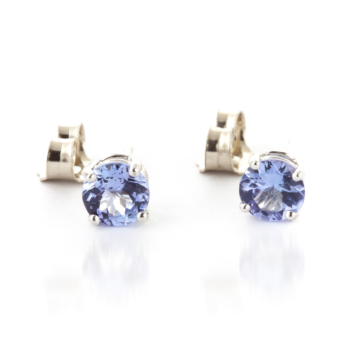 Tanzanite Stud Earrings 0.95ctw in 9ct White Gold