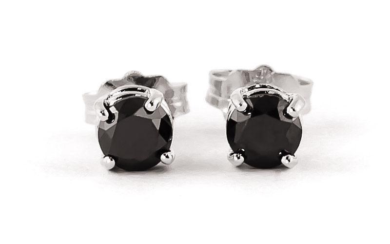 Black Diamond Stud Earrings in 14K White Gold