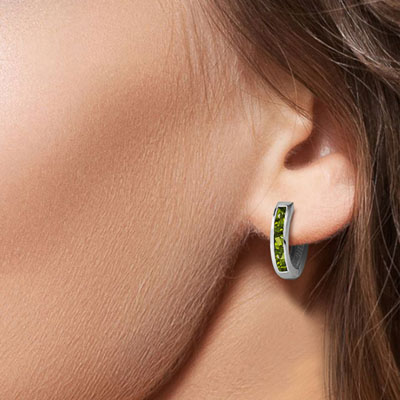 Peridot Acute Huggie Earrings 1.0ctw in 9ct White Gold