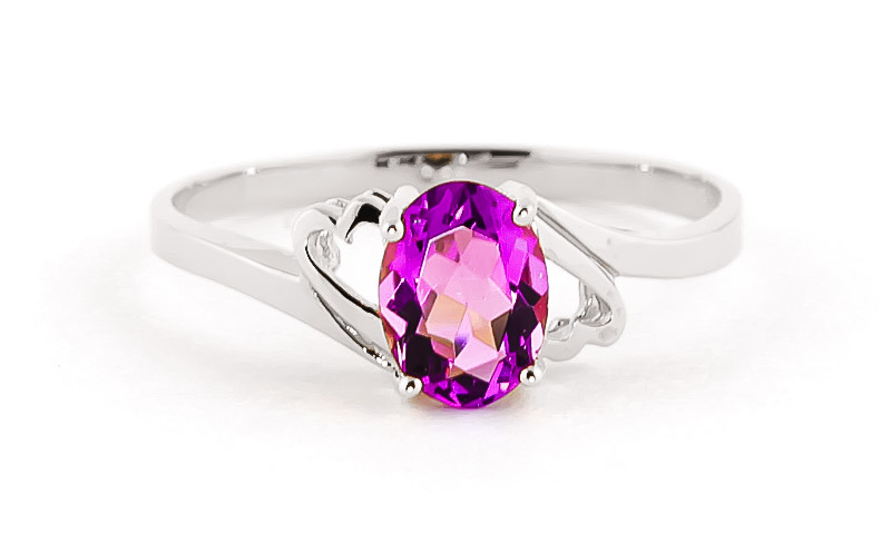 Pink Topaz Classic Desire Ring 1.0ct in 14K White Gold