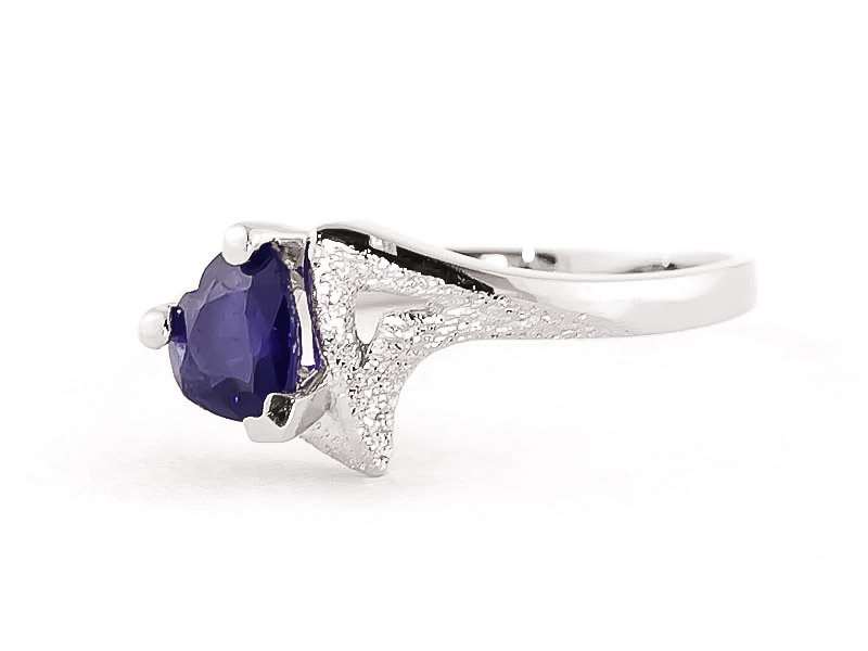 Sapphire Devotion Heart Ring 1.0ct in 14K White Gold