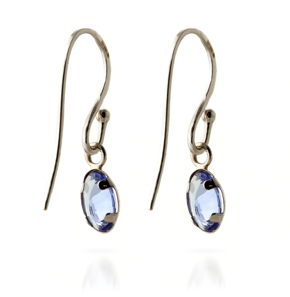 Tanzanite Drop Earrings 1.0ctw in 14K White Gold