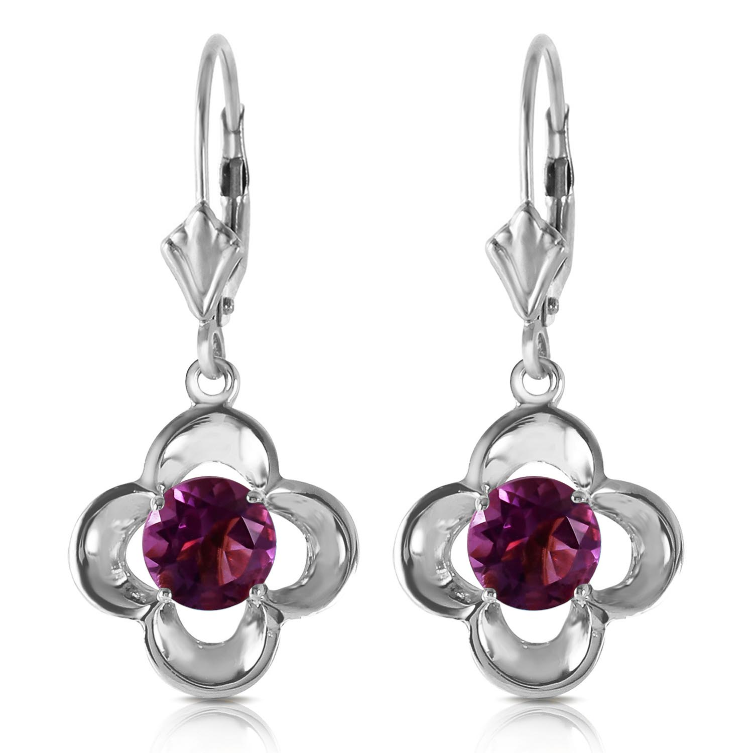 Amethyst Corona Drop Earrings 1.1ctw in 9ct White Gold