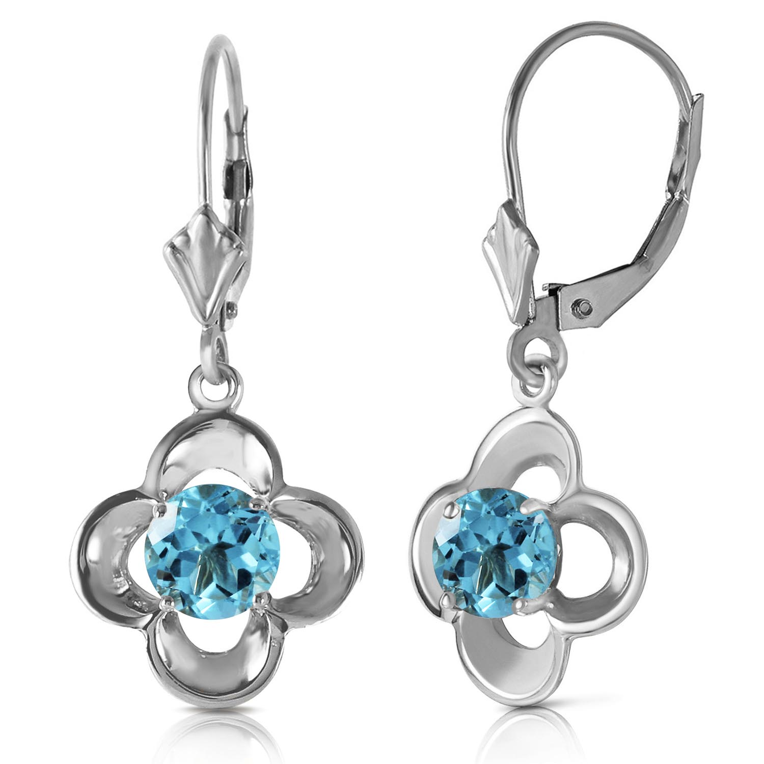 Blue Topaz Corona Drop Earrings 1.1ctw in 9ct White Gold