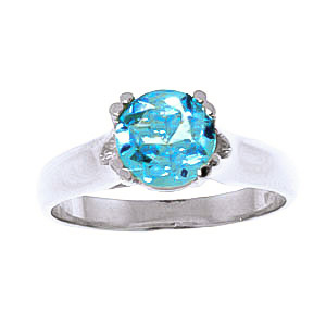 Round Brilliant Cut Blue Topaz Solitaire Ring 1.1ct in 14K White Gold