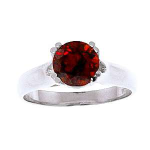 Round Brilliant Cut Garnet Solitaire Ring 1.1ct in 9ct White Gold