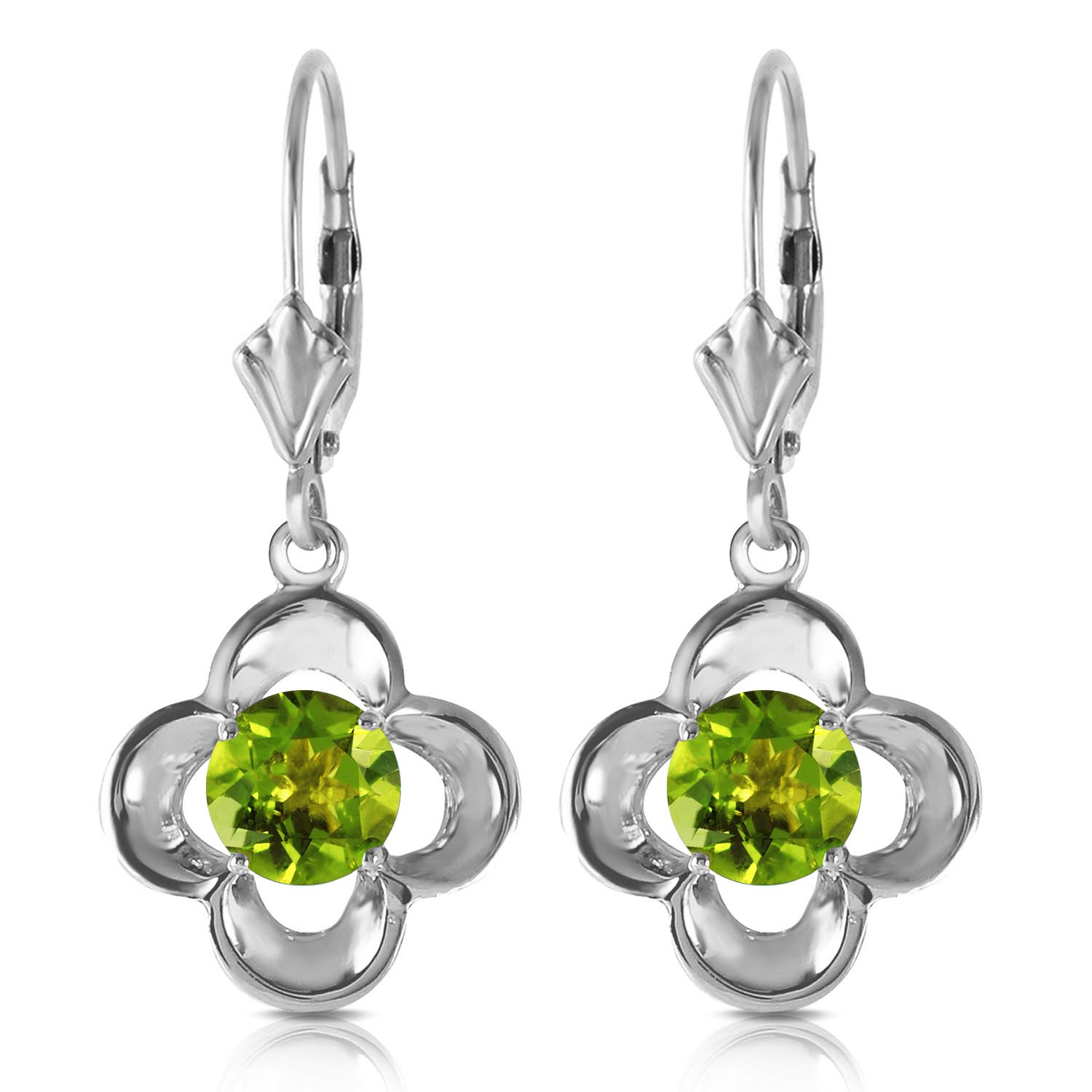 Peridot Corona Drop Earrings 1.1ctw in 9ct White Gold
