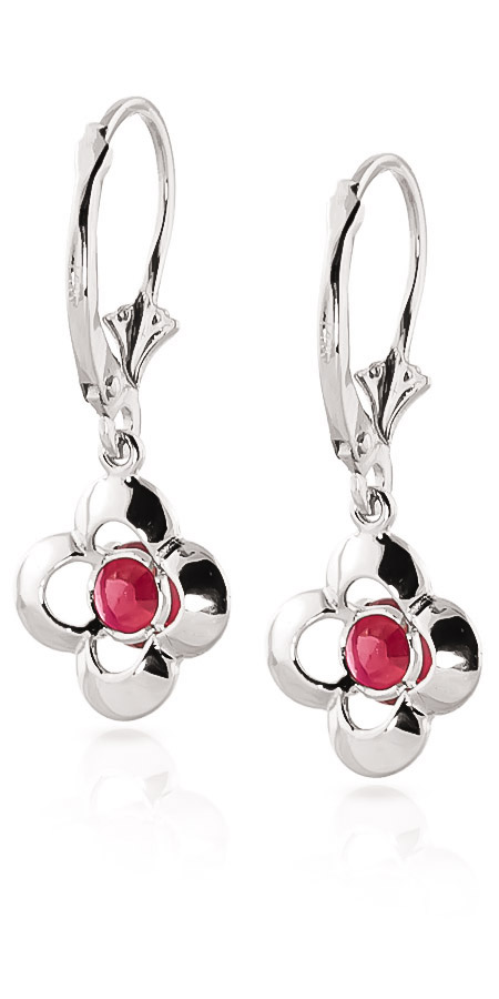 Ruby Corona Drop Earrings 1.1ctw in 9ct White Gold