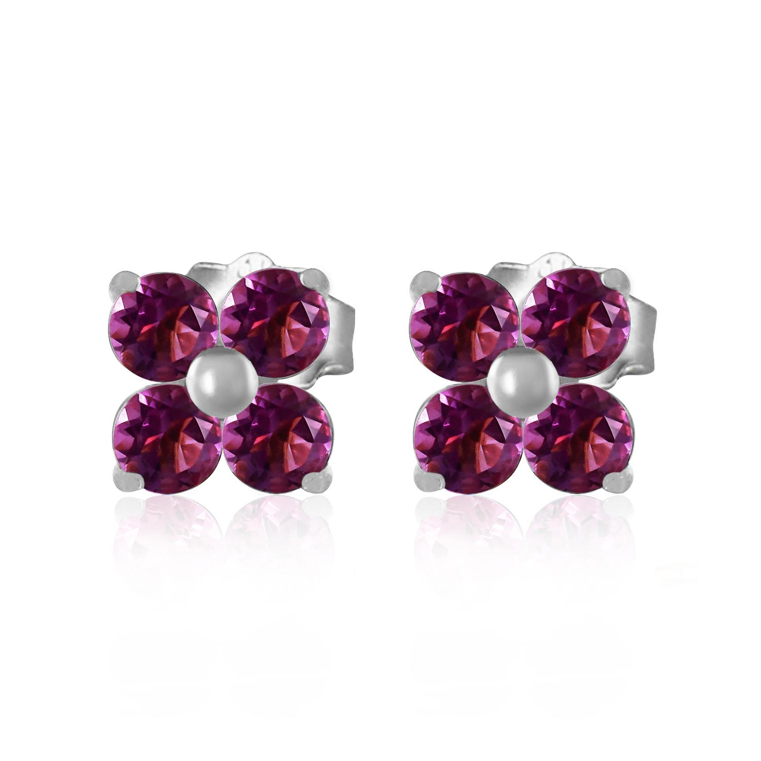 Amethyst Clover Stud Earrings 1.15ctw in 9ct White Gold