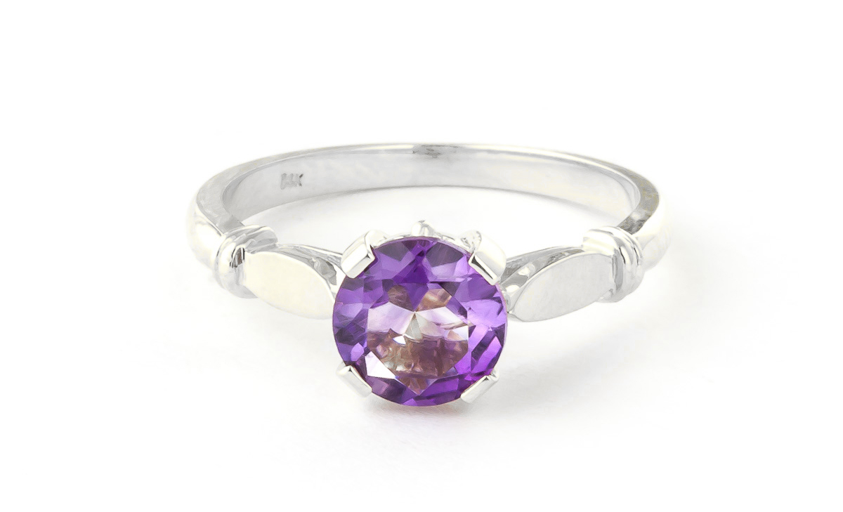 Round Brilliant Cut Amethyst Solitaire Ring 1.15ct in 9ct White Gold