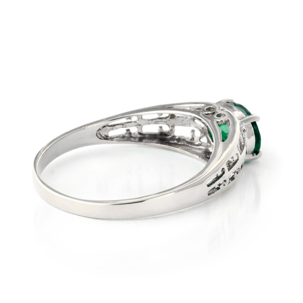 Emerald Catalan Filigree Ring 1.15ct in 9ct White Gold