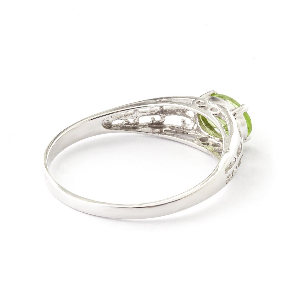 Peridot Catalan Filigree Ring 1.15ct in 14K White Gold