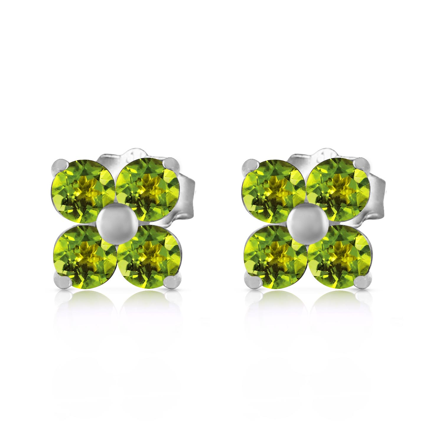 Peridot Clover Stud Earrings 1.15ctw in 9ct White Gold