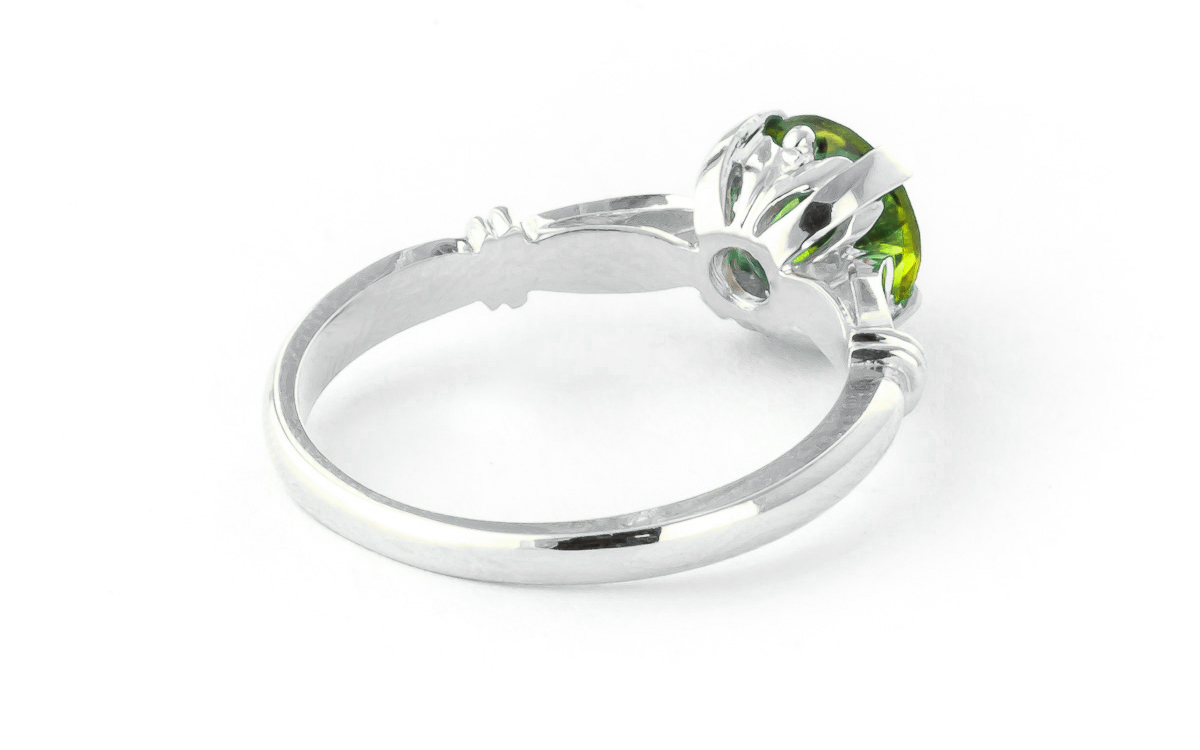Round Brilliant Cut Peridot Solitaire Ring 1.15ct in 14K White Gold