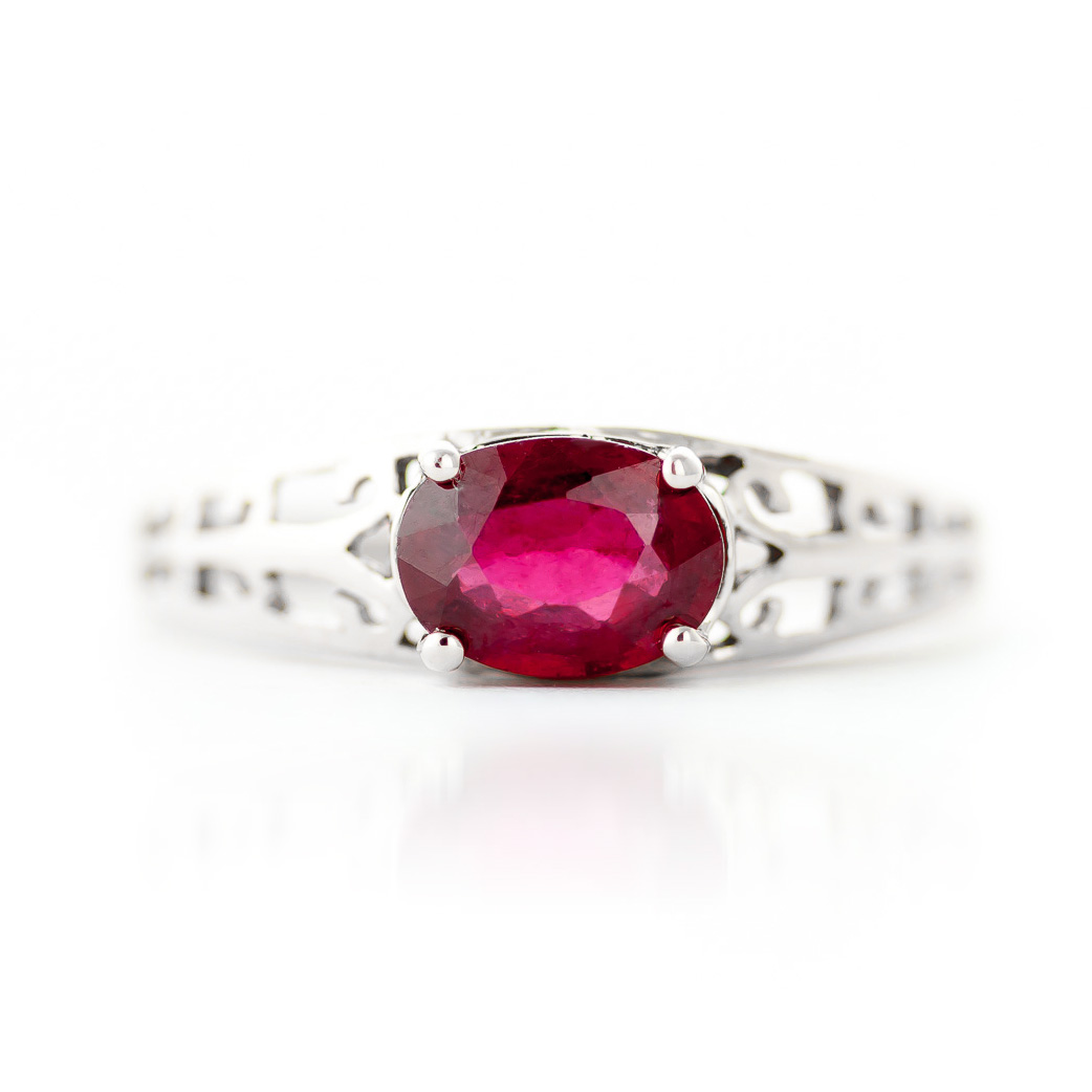 Ruby Catalan Filigree Ring 1.15ct in 9ct White Gold