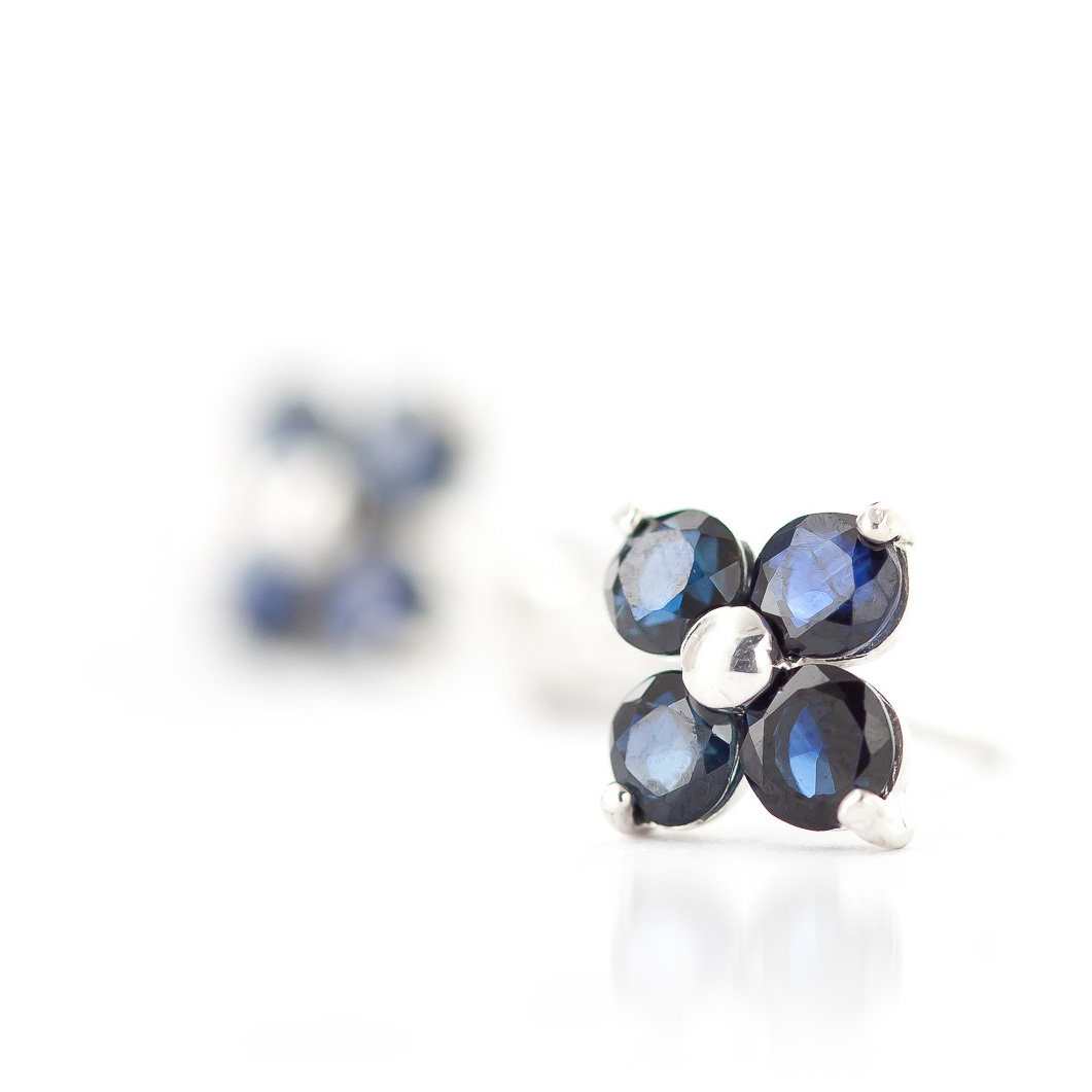 Sapphire Clover Stud Earrings 1.15ctw in 9ct White Gold