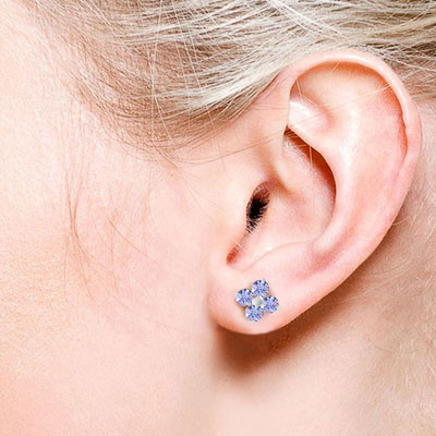 Tanzanite Clover Stud Earrings 1.15ctw in 9ct White Gold