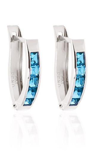 Blue Topaz Acute Huggie Earrings 1.2ctw in 14K White Gold