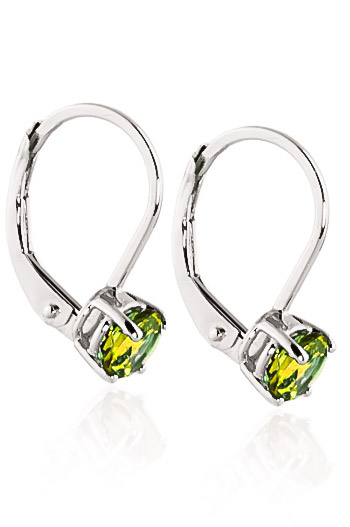 Peridot Boston Drop Earrings 1.2ctw in 9ct White Gold