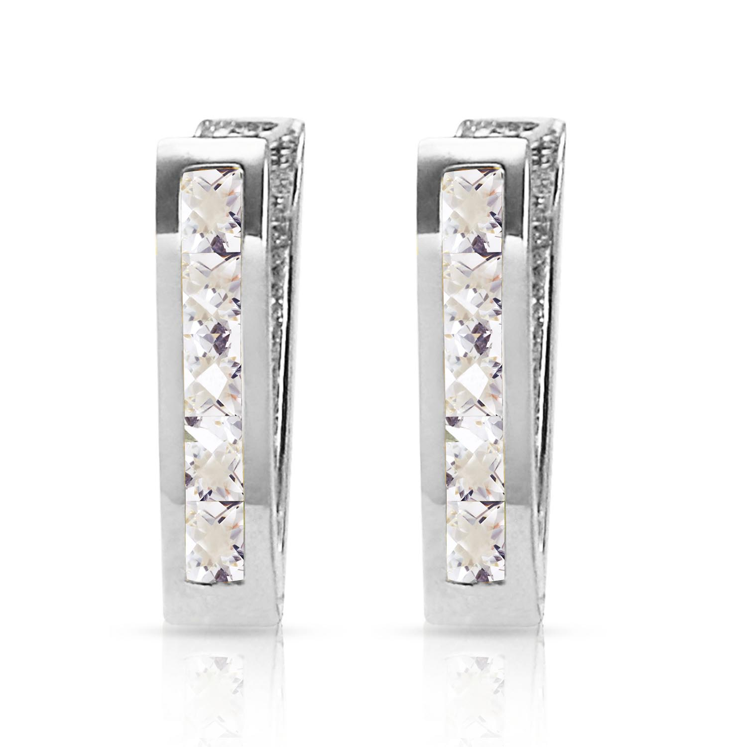 White Topaz Acute Huggie Earrings 1.2ctw in 14K White Gold