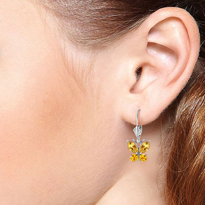 Citrine Butterfly Drop Earrings 1.24ctw in 9ct White Gold