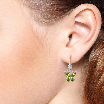Peridot Butterfly Drop Earrings 1.24ctw in 9ct White Gold