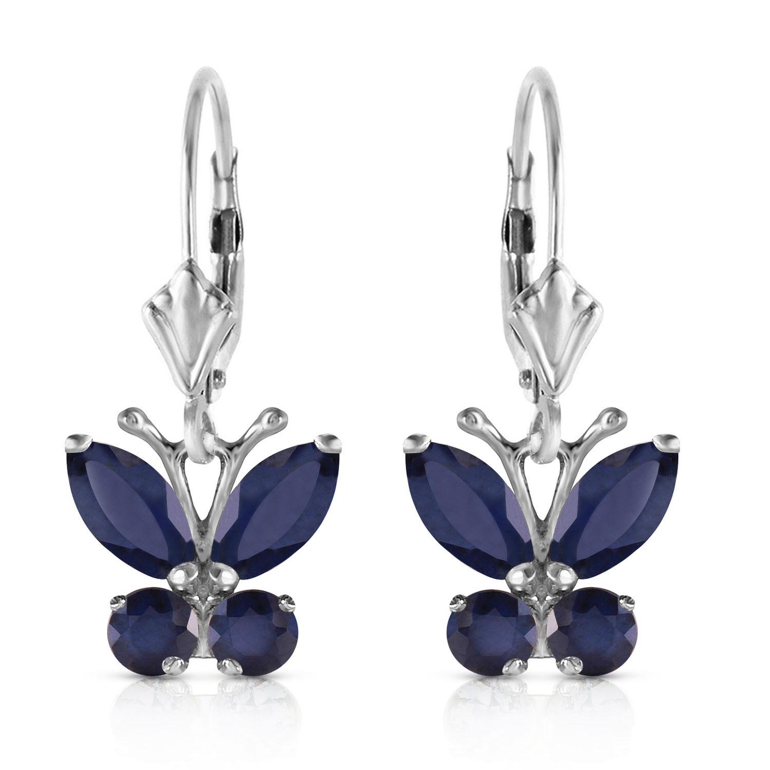 Sapphire Butterfly Earrings 1.24ctw in 9ct White Gold