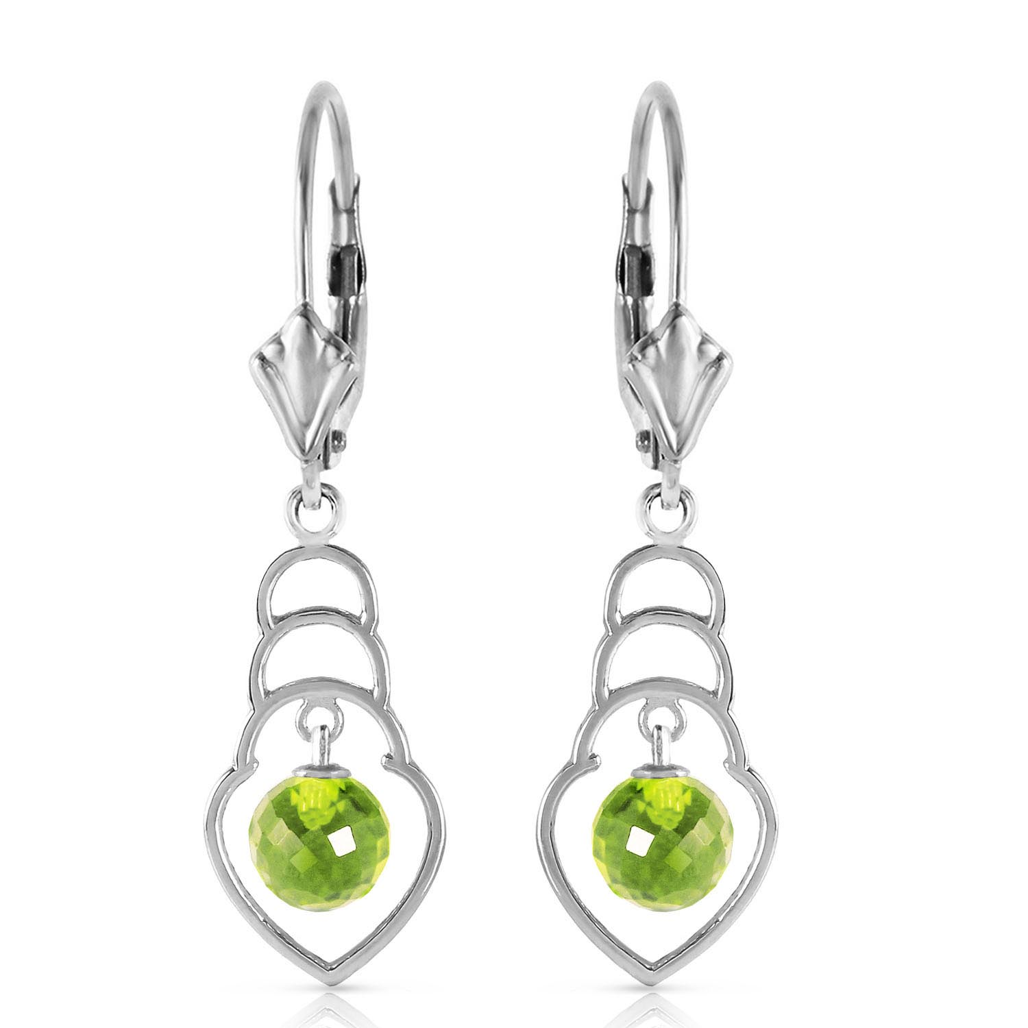 Peridot Wireframe Drop Earrings 1.25ctw in 9ct White Gold