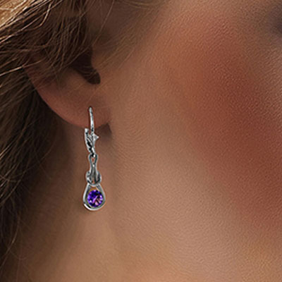 Amethyst San Francisco Drop Earrings 1.3ctw in 9ct White Gold