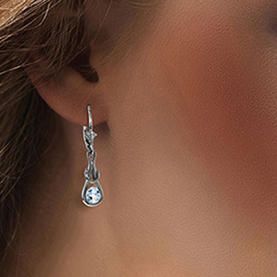 Aquamarine San Francisco Drop Earrings 1.3ctw in 9ct White Gold