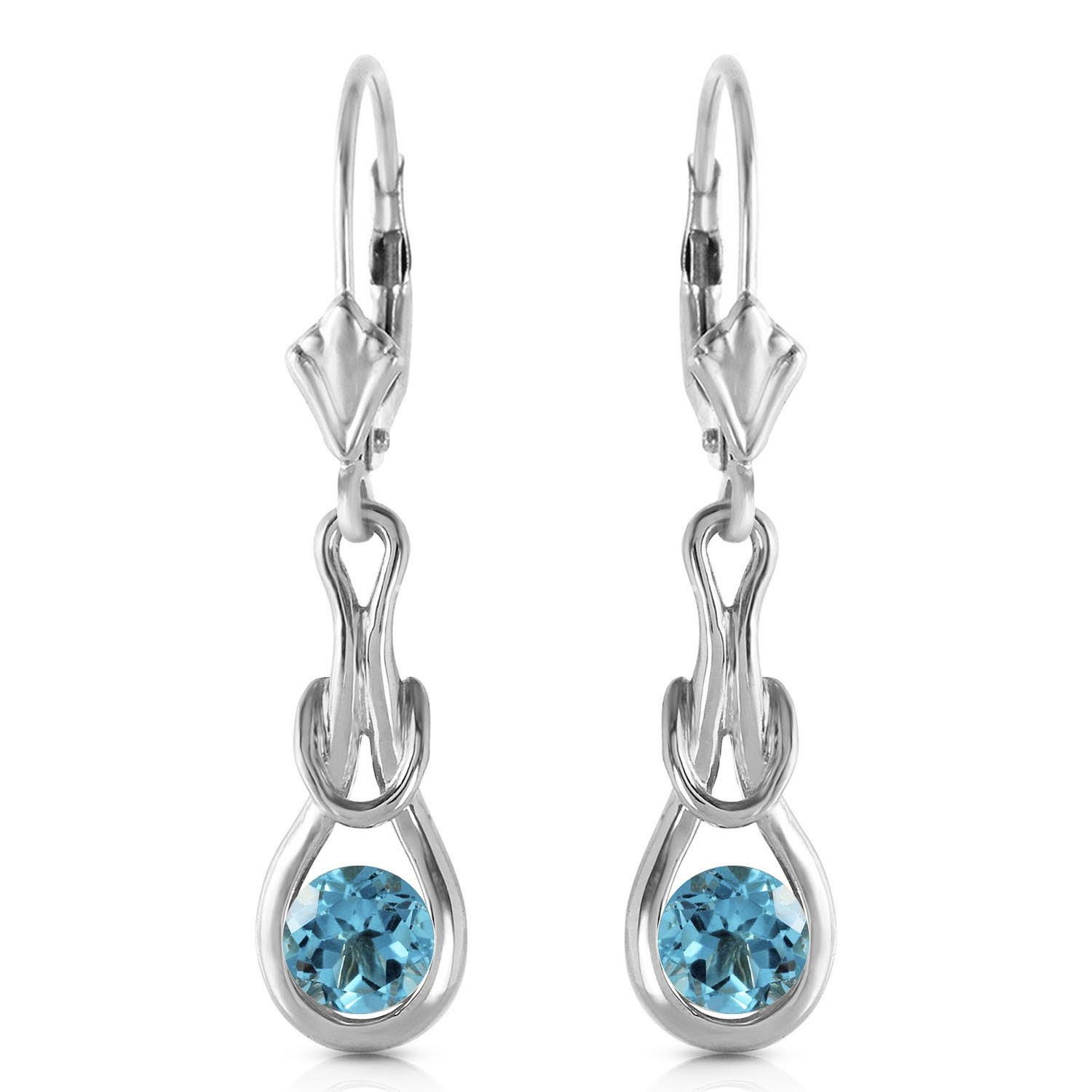 Blue Topaz San Francisco Drop Earrings 1.3ctw in 9ct White Gold