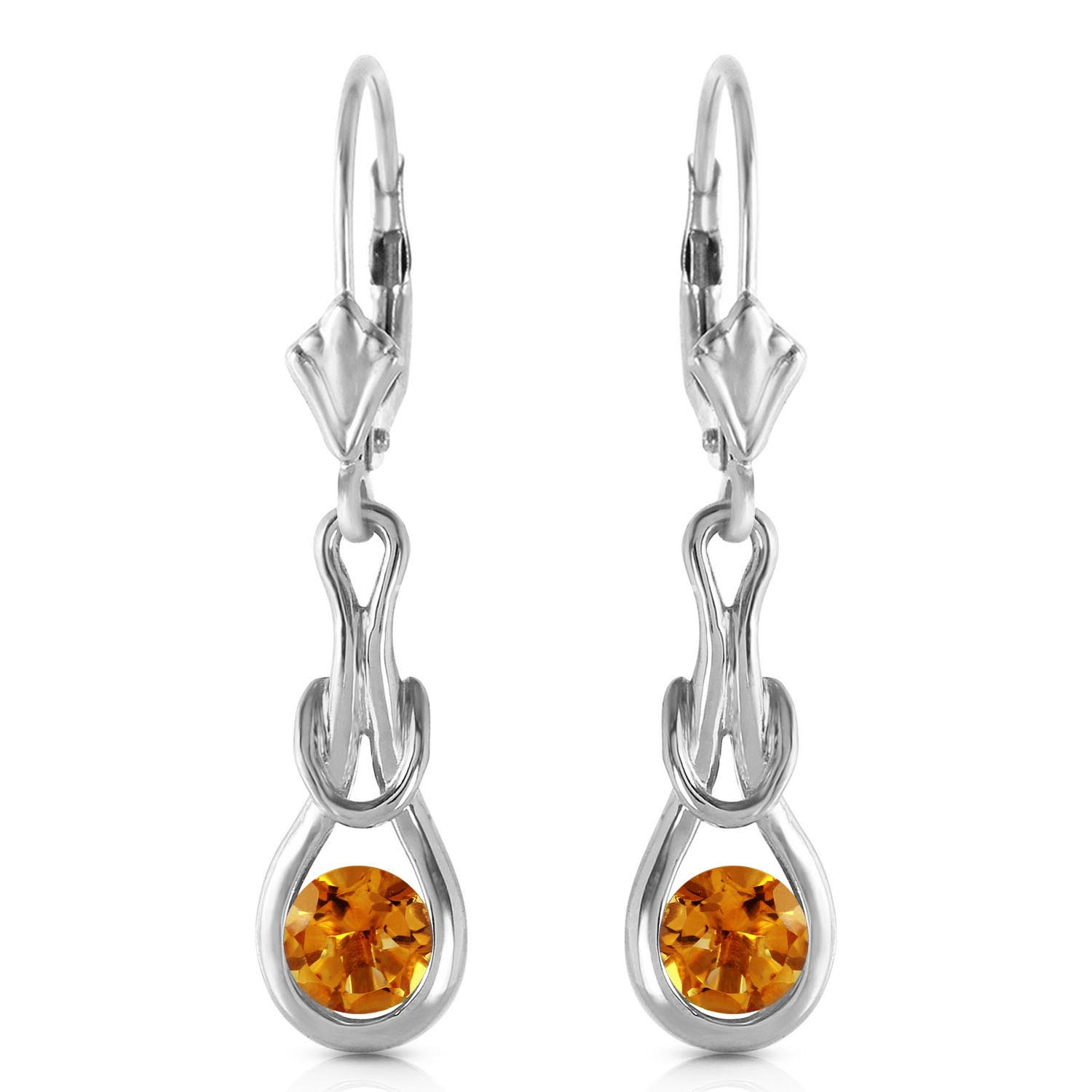 Citrine San Francisco Drop Earrings 1.3ctw in 9ct White Gold