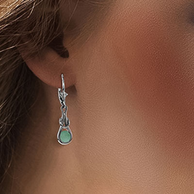 Emerald San Francisco Drop Earrings 1.3ctw in 9ct White Gold