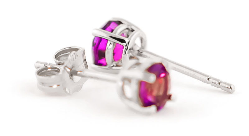 Pink Topaz Stud Earrings 1.3ctw in 9ct White Gold