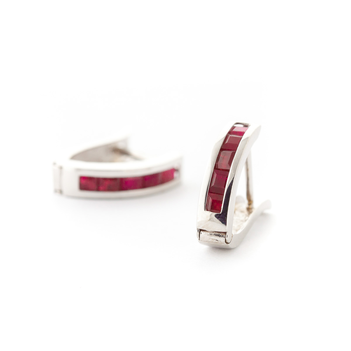 Ruby Acute Huggie Earrings 1.3ctw in 9ct White Gold
