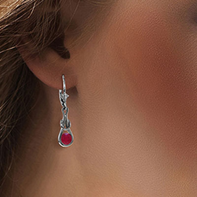 Ruby San Francisco Drop Earrings 1.3ctw in 14K White Gold