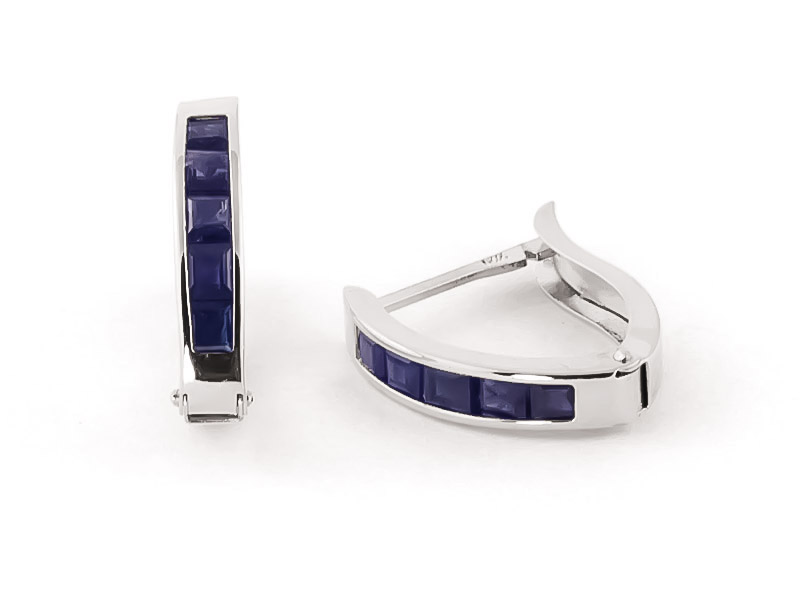 Sapphire Acute Huggie Earrings 1.3ctw in 9ct White Gold