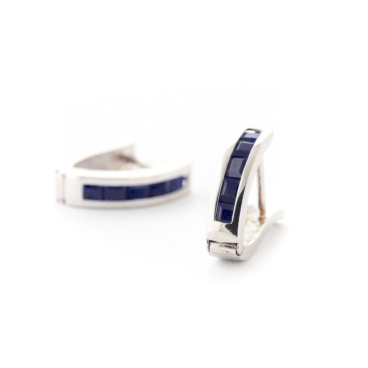 Sapphire Acute Huggie Earrings 1.3ctw in 14K White Gold