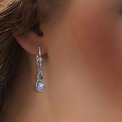 Tanzanite San Francisco Drop Earrings 1.3ctw in 9ct White Gold
