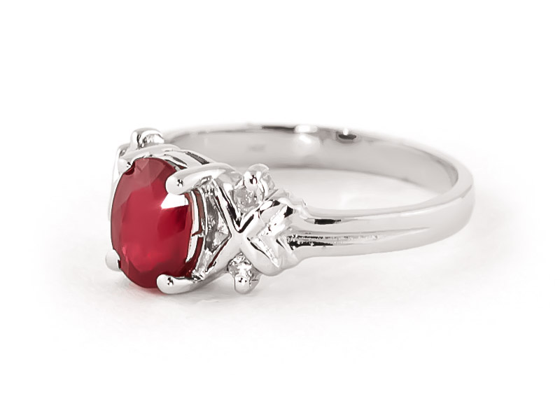 Ruby and Diamond Ring 1.35ct in 14K White Gold