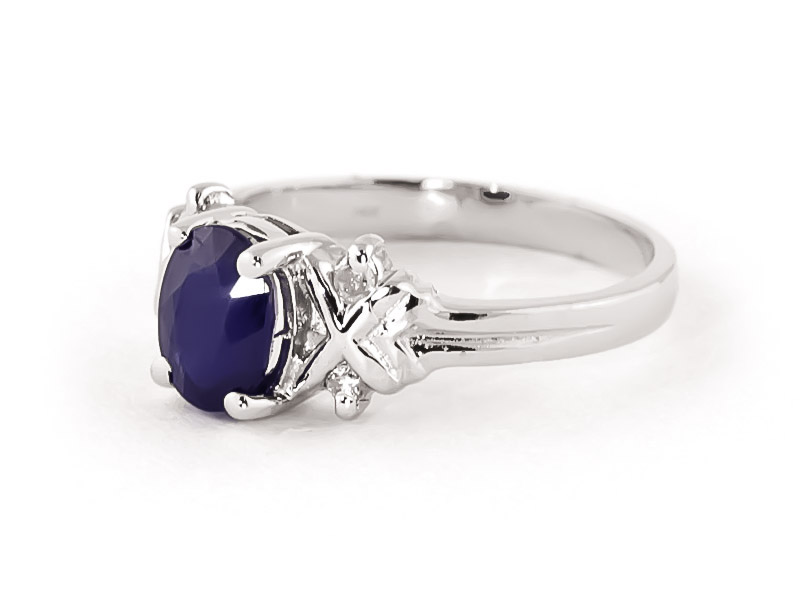 Sapphire and Diamond Ring 1.35ct in 14K White Gold