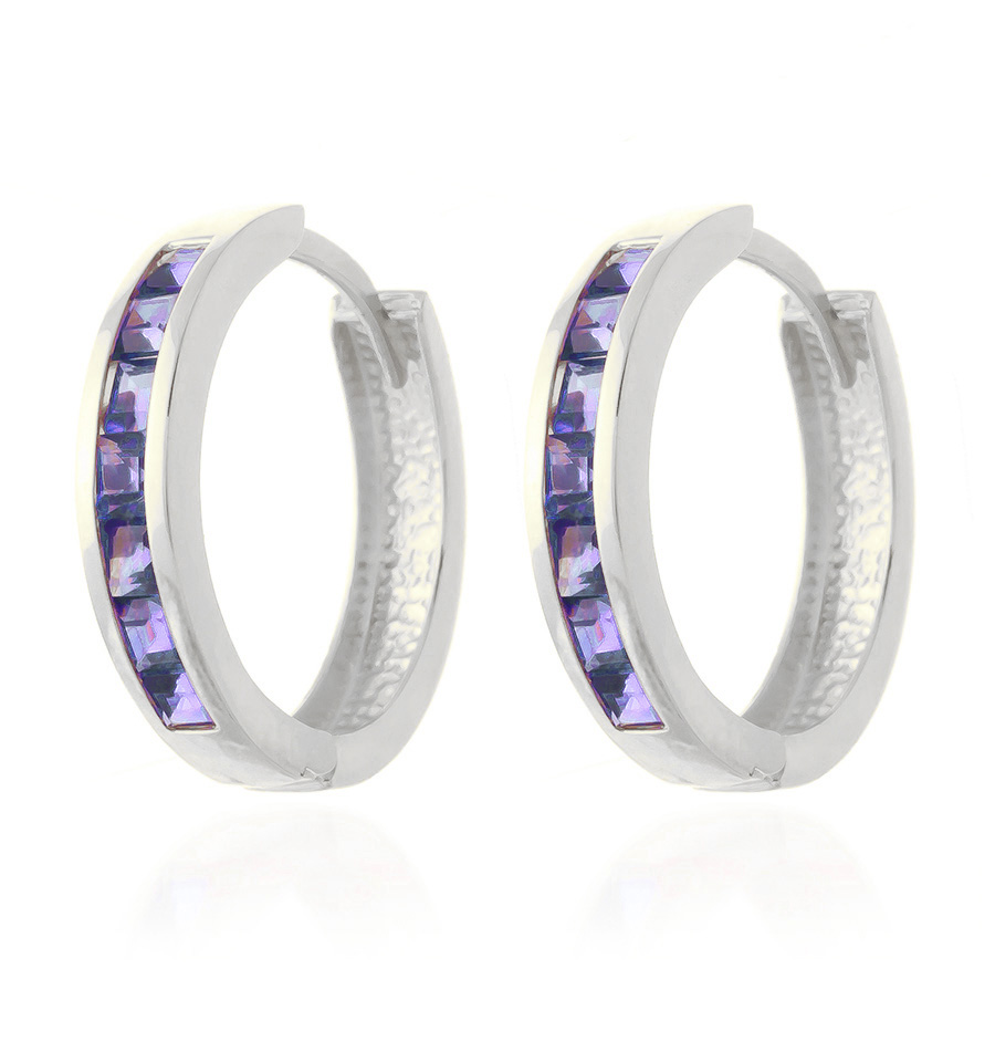 Tanzanite Huggie Earrings 1.35ct in 9ct White Gold